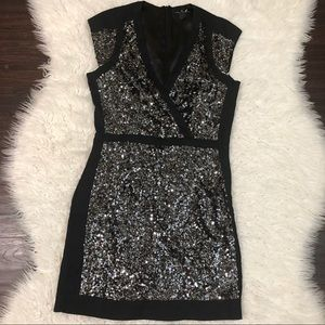 French Connection Silver Sequin Mini Dress